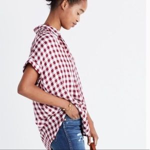 Madewell Central Shirt in Gingham Plaid Burgundy